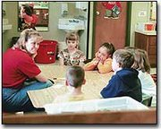 Tiffany Johnson, Basehor Elementary School kindergarten teacher, is shown instructing students enrolled in her morning class. Johnson said she would be in favor of an all-day kindergarten program at BES.