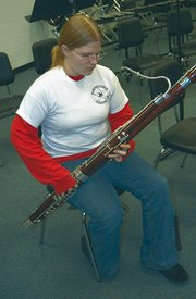 Michelle Prescott, a senior at De Soto High School, was recently named second-chair bassoon player for the Kansas Music Educators Association state orchestra. The unique bassoon is Prescott's favorite instrument, but she also plays the contrabassoon and baritone saxophone.