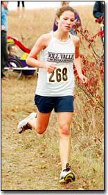 Paced by senior Angie Matlack, the girls cross country qualified for the state finals with a second-place finish.