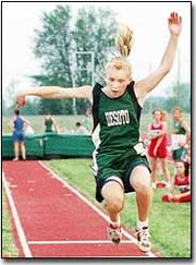 DeSoto High long jumper Julie Beck won the Kaw Valley League title in May with a mark of 16-5. The DeSoto girls won the league meet for the second consevutive year.