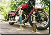 Mike Oleson has won two trophies during his motorcycle drag racing career with his 1982 Suzuki GS 1100 E.