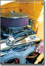 Any of Pete Tork's engines could pass a white-glove test. The engine of this 1933 Ford pickup is as clean as the truck's canary-yellow exterior.