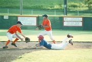 Tonganoxie Post 41 player Kirk Rodell slides safely into second base Thursday in Tonganoxie. The team swept a doubleheader against Leavenworth Post 23, 8-0 and 21-2.