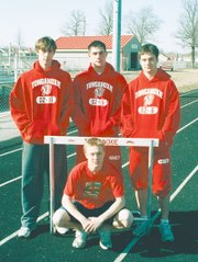 THS track seniors are, clockwise, from top left, Shane Howard, Matt Madeira, Billy Baska and Travis Andrews. Not pictured is Nick Stein.