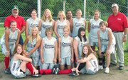 Members of the Tonganoxie Braves are, front row from left, Tracie Hileman and Hannah Herrstrom; second row from left, Amy Theis, Ashlee Lohman, Sami Rush, Amanda Darrow, Amanda Albert and Ally Theis. Third row from left, coach Craig Lohman, Melissa Pratt, Amie Riddle, coach James Grizzle, Chelsea Raines, Roxanne Grizzle, Veronica Grizzle and coach Pat Albert.