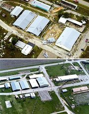 Top, this was the aerial view of the Leavenworth County Fairgrounds after a tornado struck on May 11, 2000. This photograph was made the morning after the tornado swept through town. Bottom, in this aerial photograph, which was made several weeks ago, the work that's been done to the Leavenworth County Fairgrounds is evident. This photograph looks south-southwest, toward Kansas Highway 16.