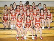 Tonganoxie girls varsity and junior varsity members are, front row, from left, Jennifer Reischman, Johanna Romero and Laura Korb; second row, from left, Karoline Mathieu, Sarah Holliday, Kylie Ritchey, Amanda Chenoweth, Katie Jeannin, Michelle McWilliams and Kelly Breuer; third row, from left, Lona Dickinson, Heather Ramirez, Jessica Bogard, Madison Weller, Hannah Heintzelman, Laura Jeannin and Addie Heim; and back row, from left, manager Sarah Winkler, Heather Deaver, Nicole Carty, Casey Worden and Cristen Bray.