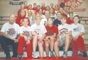 Members of the Tonganoxie girls' track team are, front row, from left, Coach Bill Shaw, Meghan Needham, Keri Walker, Erin Seymour, Alicia Stauch and Jennifer Reischman; second row, from left, Katie Jeannin, Loren Donnelly, Becky Shepard, Abbie Jones and Heather Helm; third row, from left, Kayla Hammonds, Elizabeth Smith, Kelly Breuer, Rebecca Mages and Jennifer Saultz; fourth row, from left, Madison Weller, Mallory Mormon, Laura Jeannin, Rachel Smith, Abbie Hoffhines and Rachel Wesston; and fifth row, from left, Heather Deaver, Casey Worden, Kara Coffey, Brooke Grey and Nicole Carty. Not pictured is Erin O'Brien.
