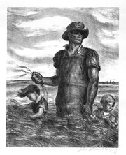 """Our Good Earth"" was created by Regionalist artist John Steuart Curry in the late 1930s or early 1940s."
