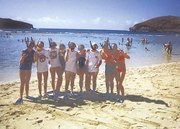 Vanessa Wardy, first from left, and her Sport 2 Sport teammates give a gnarly hand sign to the camera before preparing for some snorkeling near Waikiki Beach in Hawaii. Wardy played in a volleyball tournament in Honolulu earlier this month.