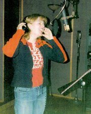 A younger Joey Glenn belts out a song in a Kansas City recording studio when she recorded her own CD.