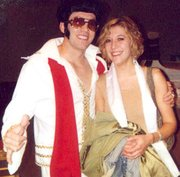 Brad LeDuc, posing as Elvis Presley, and Candace Hochard, are making plans for a July wedding.