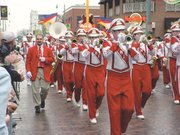 Chieftain band members stepped in time as the parade wound its way down Beale Street.