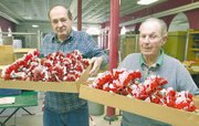 Arthur Lawler, left, and Carol Garvin hold boxes of poppies that are ready to be packed for shipment.