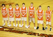 Tonganoxie boys basketball seniors are, from left, Daniel Workman, Levi Huseman, Kirk Rodelll, Scott Korb, Michael Morris, Sam Mitchell and Robert Kirch. THS finished 9-12 last season.