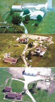 Top, this photograph of Florence Somers' farmstead west of Tonganoxie was made in 1989. Middle, this photograph shows Florence Somers' property as it appeared the day after the May 11, 2000, tornado. Bottom, in this photograph, made a few weeks ago, the damage to Florence Somers' property still is evident.