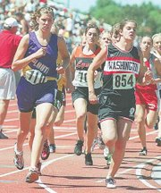 McLouth's Courtney Edmonds battles Washington's Brooke Dragastin for position in the 1,600 at state in Wichita. Edmonds won her second straight Class 2A gold medal in the 800 and placed third in the 1,600.