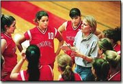 Kelly Alexander, Tonganoxie coach, gives her players insrtructions during Tonganoxies Oct. 17 tournament. The team ended its season after failing to qualify for further play at Saturdays sub-state tournment at Topeka-Hayden.