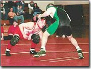Steven Adcox faces an opponent last Thursday in a home double dual against Immaculata and Basehor-Linwood. The Chieftains finished 4-2 for the week and are preparing for their home wrestling tournament Saturday.