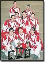 Shown with trophies the Marching Chieftains won at the Cotton Bowl are, back row from left, Britain Stites and Alan Davis; middle row from left, Tori Smith, Melissa Ward, Sarah Melchoir and Melissa High; and front row from left, Rachel Clark, Rachel Fish and Sarah Subelka.