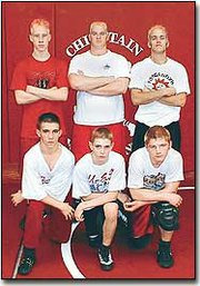 Chieftain wrestlers will travel to Wichita this weekend to participate in the State Class 4A wrestling tournament. Pictured front row, from left, are Josh Ferris, Chad Starcher and Steve Adcox. Back row, Willy Altman, Tony Miller and Mike Andrews.