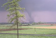Linda Sturgeon, who lives about five miles southeast of Tonganoxie, took this picture of the May 4 tornado when it was in the area of 166th Street and Kansas Avenue. Sturgeon made the photograph from the deck on the back of her house.