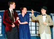Captain Von Trapp, left, played by Colby Craig, listens intently with Elsa Schraeder, played by Crystal Vaughan, at his arm, to their friend, Max Detweiler, played by Michael Stephenson.