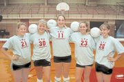 Seniors of the Chieftain volleyball team look to fill the void left by key seniors last season. From left are Karley Bennett, Christie Menhusen, Vanessa Wardy, Jennifer Reischman and Laura Samuels.